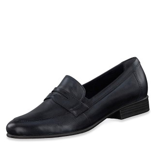 tamaris-black-leather-loafer-shoe-school-ladies-kids-lime shoe co-berwick upon tweed