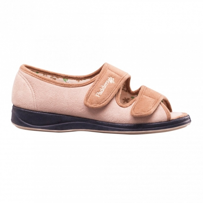 9f3e2d3abc03 Padders Lydia Taupe Wide Fitting Ladies Slipper - Lime Shoe Co