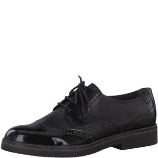 Tamaris-1-23711-251-black-comb-lace up-ladies-leather-shoe-limeshoe co-berwick upon tweed