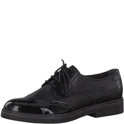 Tamaris-1-23711-251-black-comb-lace up-ladies-leather-shoe-limeshoe co-berwick upon tweed