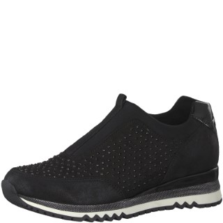 marco tozzi-black-sparkle-trainer-ladies-lime shoe co-berwick upon tweed