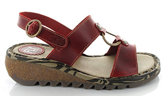 Berwick upon Tweed-Lime shoe co-Fly London-Red-Sandal-Summer