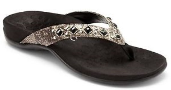Berwick upon Tweed-Lime shoe co-Vionic-Toe Post-Grey-snake-Jewelled