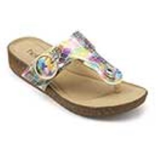 hotter-rainbow-metallic-slip on-sandal-toe post-lime shoe co-berwick upon tweed