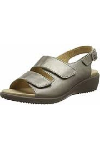 Hotter-elba-metallic-nickel-adjustable-wide-fit-sandal-ladies-lime shoe co