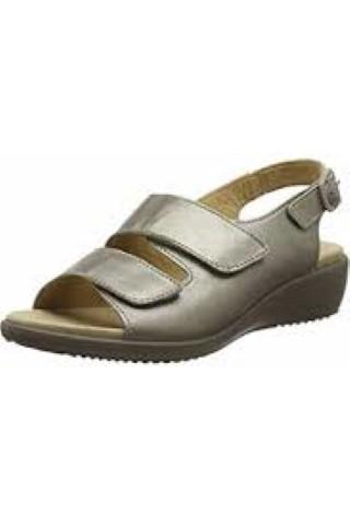 Hotter-elba-metallic-nickel-adjustable-wide-fit-sandal-ladies-lime shoe co