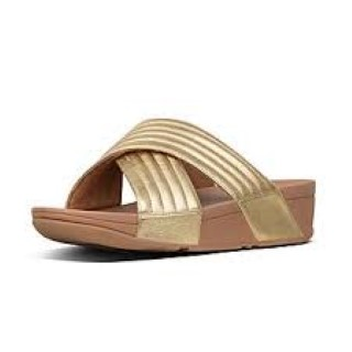 fitflop-artisan gold-leather-ladies-sliders-lulu-padded-lime shoe co-berwick upon tweed