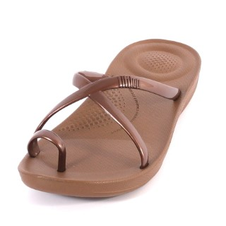 fitflop-Iqushion-pearlised-bronze-ladies-sandal-rubber-lime shoe co-berwick upon tweed