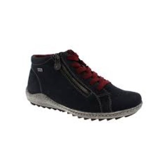 Berwick upon Tweed-Lime Shoe Co-Remonte-Navy-Nubuck-Lace up-Ankle boot