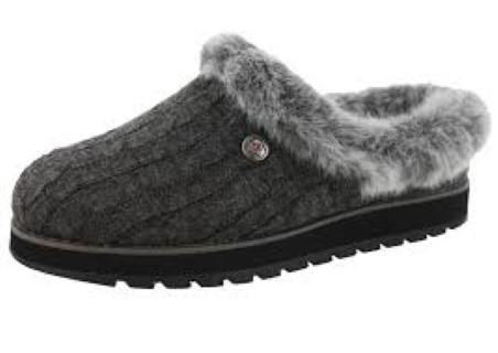 Berwick upon Tweed-Lime Shoe Co-Skechers-knitted-slippers-slip on-charcoal