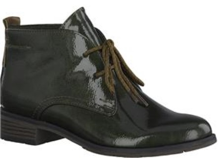 Lime Shoe co-Berwick upon Tweed-Marco Tozzi-Winter 19-Ankle Boot-Patent-Khaki-Lace Up-Formal-Casual-Comfort