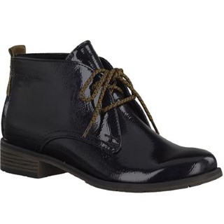 Lime Shoe Co-Berwick upon Tweed-Marco Tozzi-Winter 19-Ankle Boot-Patent-Navy-Lace |Up-Comfort-Casual-Formal