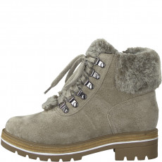 Berwick upon Tweed-Lime Shoe Co-Marco Tozzi-Winter-Laces-Side Zip-Taupe-Fur-Cosy