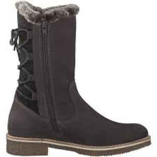 Lime Shoe Co-Berwick upon Tweed-Tamaris-Winter 19-Mid Length Boot-Flat-Leather-Side Zip-Fleece Lined-Warm-Comfortable