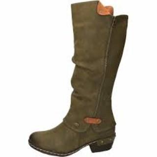half off 6bca5 e54c3 Rieker 93655-54 Ladies Green Knee Boot