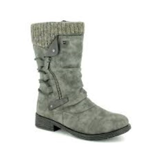 Lime Shoe Co-Berwick upon Tweed-Remonte-Winter-Ladies-Mid Length-Boot-Grey-Flat-Side Zip-Padded Collar-Comfort-Stylish