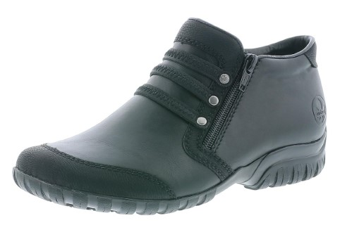 Lime Shoe.co-Berwick upon Tweed-Rieker-Black-Ankle Boot-Winter 19-Removable Insole-Double Zip-Extra Wide-Flat-Comfort