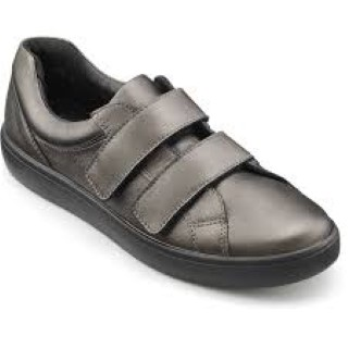 Lime Shoe Co-Berwick upon Tweed-Hotter-Ladies-Winter 19-Shoe-Velcro Fastening-Pewter-Comfortabl
