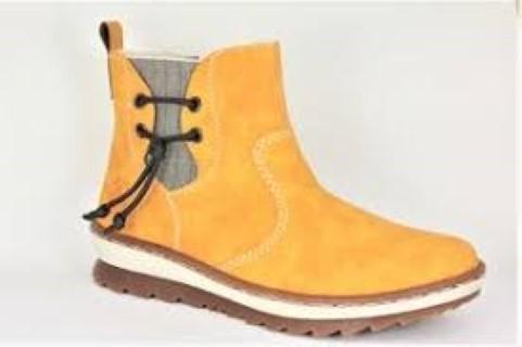 Lime Shoe Co-Berwick upon Tweed-Rieker-Winter 19-Yellow-Ankle Boot-Flat-Side Zip-Pull Tab-Comfort