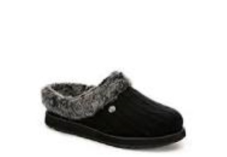 Berwick upon Tweed-Lime Shoe Co-Skechers-slippers-black-mule-slip on-knitted-winter