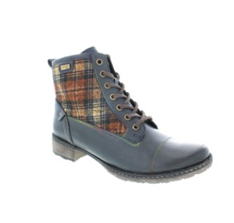 Lime Shoe.co-Berwick uponTweed-Ankle Boot-Remonte-Navy Blue-Check-Block Heel-Conceled Zip-Winter 19