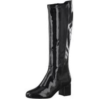 Lime Shoe Co-Berwick upon Tweed-Marco Tozzi-Autumn-Winter-Knee Boot-Patent-Black-Block Heel-Side Zip
