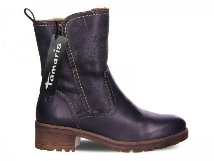 Lime Shoe Co-Berwick upon Tweed-Tamaris-Winter 19-Mid Length Boot-Block Heel-Side Zip-Navy Blue