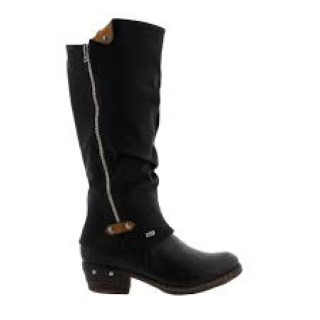 Lime Shoe Co-Berwick upon Tweed-Rieker-Winter 19-Knee Boot-Heel-Leather-Comfort-Side Zip-Black