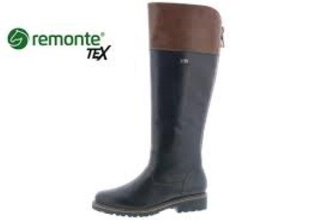Lime Shoe Co-Berwick upon Tweed-Remonte-Brown-Black-Knee Boot-Water Resistant-Side Zip-Comfort-Boot
