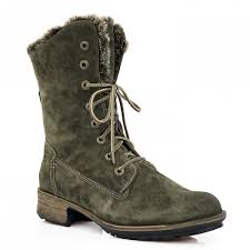 Berwick upon Tweed-Lime Shoe Co-Josef Seibel-Boots-winter-khaki-ladies-laces-side zip