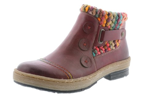 Berwick upon Tweed-Lime Shoe Co-Rieker-Red Wine-Wool-Lambswool-side zip-buttons-buckle-winter-ladies