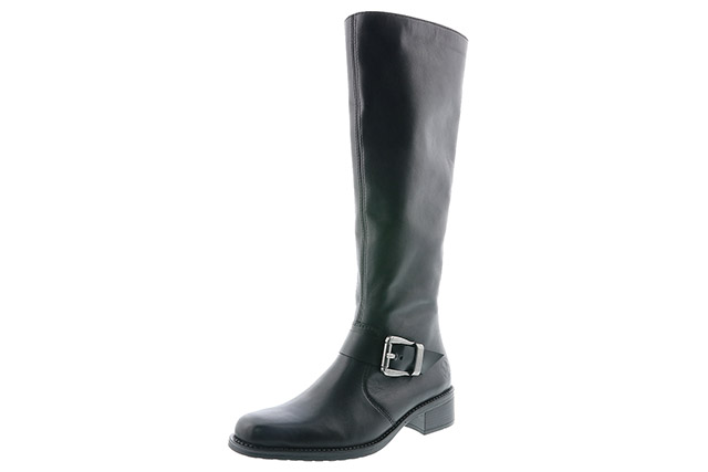 Berwick upon Tweed-Lime Shoe Co-Rieker-Black-Ladies-Knee High Boot-Buckle-Warm Lined-Winter