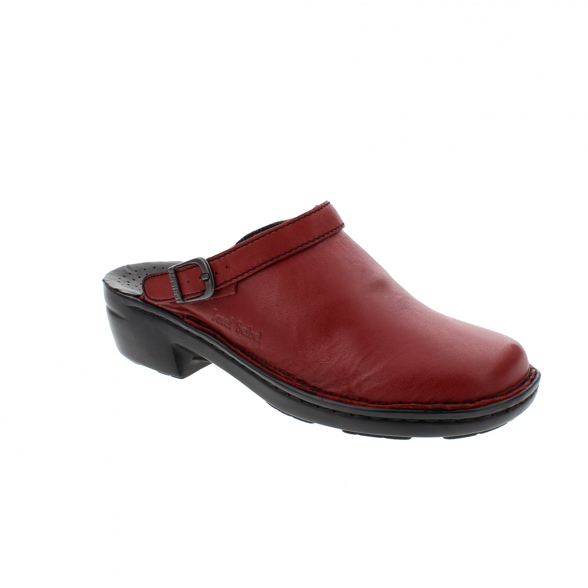 Berwick upon Tweed-Lime Shoe Co-Ladies-Josef Seibel-clogs-Red-Slip on-buckle-non slip