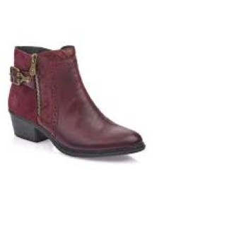 Lime Shoe Co-Berwick upon Tweed-Rieker-Red-Ankle Boot-Boot-Block Heel-Comfort-Side Zip-Buckle-Leather