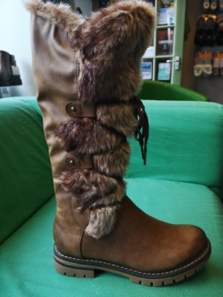 Berwick upon Tweed-Lime Shoe Co-Long Boot-Brown-fur-side zip-winter-cosy