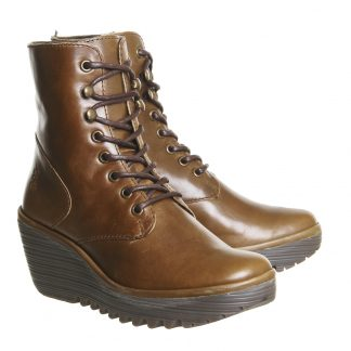 Berwick upon Tweed-Lime Shoe co-Fly London-Camel-Ankle Boot-Wedge-laces-side zip-winter