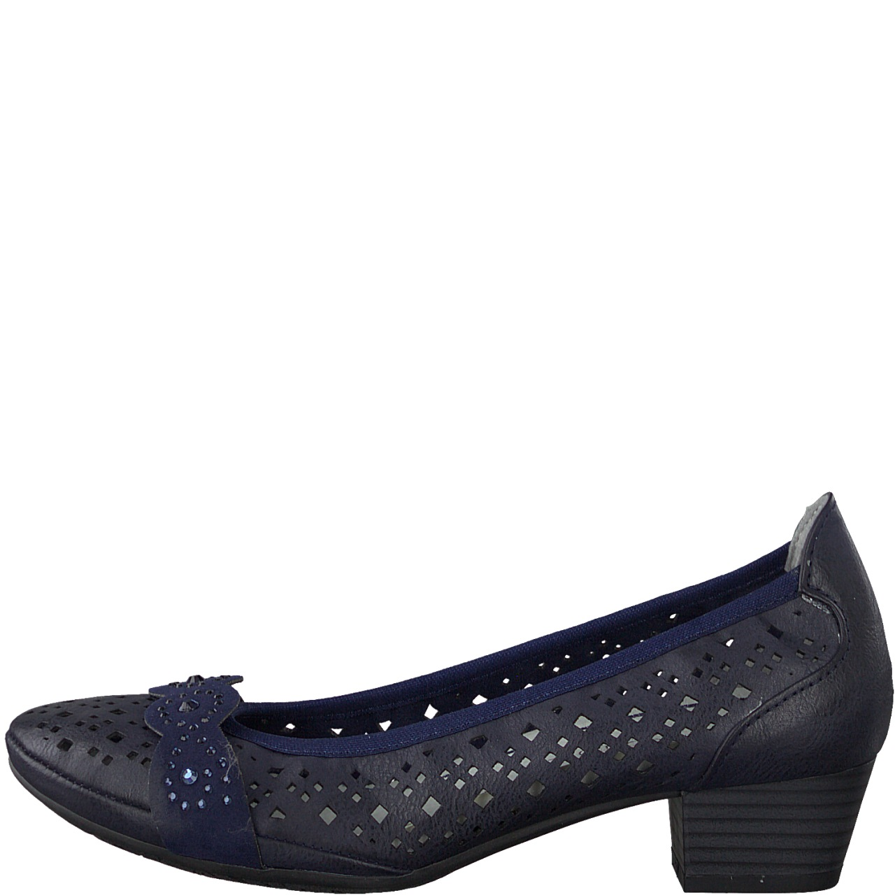 Berwick upon Tweed-Lime Shoe Co-Marco Tozzi-Blue-Court shoe-punched detail-navy-heel-spring-summer