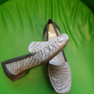 Berwick upon Tweed-Lime Shoe Co-Rieker-Grey-slip on-leather-pattern-summer-spring