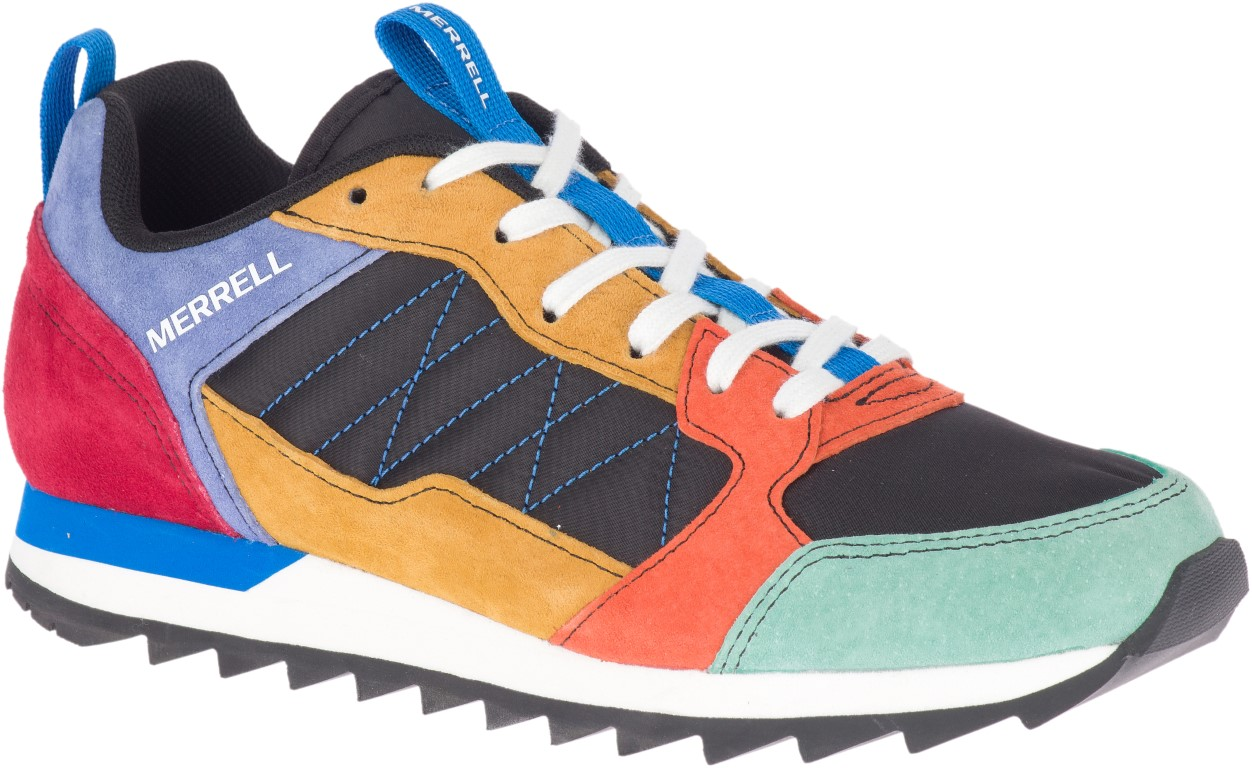 Berwick upon Tweed-Lime Shoe Co-Merrell-Retro-Trainer-multi coloured-laces-summer