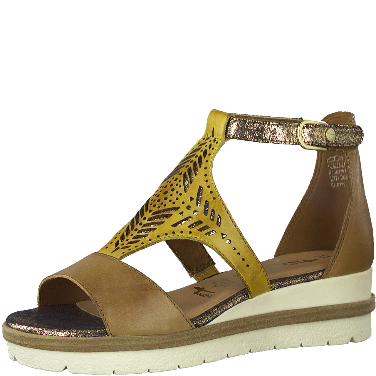 Berwick upon Tweed-Lime Shoe Co-Tamaris-Sandal-Yellow-Tan-Wedge-Velcro-summer