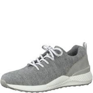 Lime Shoe Co-Berwick upon Tweed-Marco Tozzi-Grey-Merino-Wool-Trainer-Removable Footbed-Leather Insole-Lace Up-Comfort-Flat