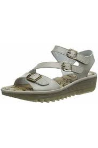 Berwick upon Tweed-Lime Shoe Co-Fly London-Ladies-Wedge-sandal-Cloud Grey-3 buckles-adjustable-velcro-summer