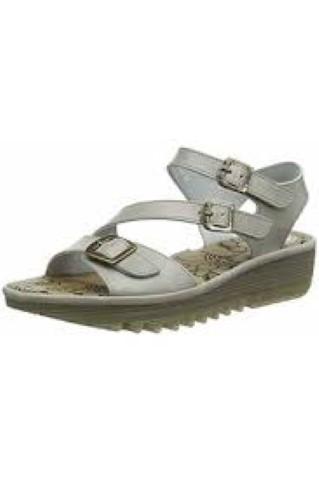 Berwick upon Tweed-Lime Shoe Co-Fly London-Ladies-Wedge-sandal-Cloud Grey-3 buckles-adjustable-velcro-summer