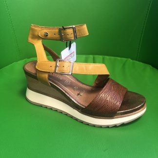 Lime Shoe Co-Berwick upon Tweed-Tamaris-Spring Summer 20-Sandal-Saffron-Nut-Wedge-Leather-Comfort-Stylish-Buckle-Strap