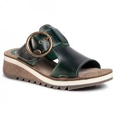 Berwick upon Tweed-Lime Shoe Co-Fly London-Petrol Green-Sliders-sandals-buckle-summer