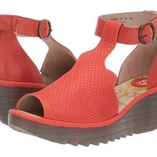 Berwick upon Tweed-Lime Shoe Co-Fly London-Red-Sandal-Wedge-Velcro-Ankle Strap-Peep Toe-summer