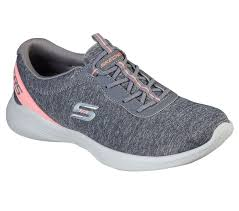 Berwick Upon Tweed-Lime Shoe Co-Skechers-Trainers-Grey-Bungy Laces-summer-lightweight