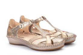Berwick upon Tweed-Lime Shoe Co-Pikolinos-Gold-Stone-Sandal-Summer-Velcro