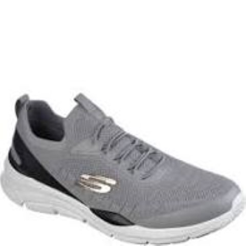 Berwick upon Tweed-Lime Shoe Co-Skechers-Gents-Grey-Trainer-Memory Foam Insole-Bungee Laces-Comfort-lightweight
