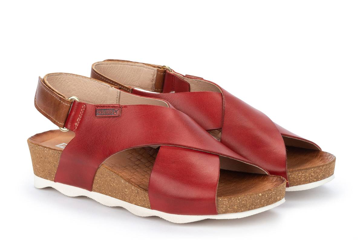 Berwick upon Tweed-Lime Shoe Co-Pikolinos-Red-Sandal-Summer-Velcro